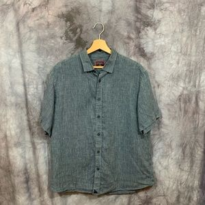 Untuckit Blue Linen Short Sleeve Button Down L